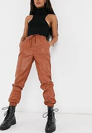 New Look leather look jogger in rust-Brown