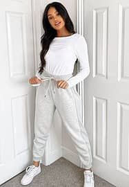New Look long sleeve crew neck top in white