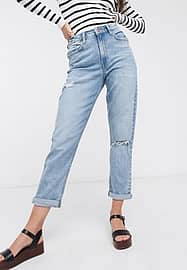 New Look mom jeans with rips in light blue