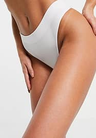 New Look rib seamless thong in white
