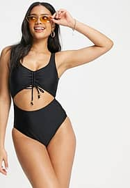 New Look ruched detail cut out swimsuit in black