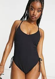 New Look ruched side swimsuit in black