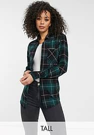 New Look Tall button up check shirt in green