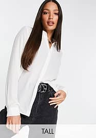 New Look Tall long sleeve shirt in white