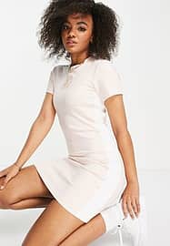 Nike bodycon dress in baby pink with short sleeves