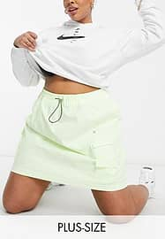 Nike Swoosh Plus woven skirt in neon yellow with utility pockets