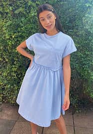 Noisy May mini smock t-shirt dress with pocket detail in baby blue