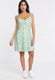 Noisy May swing dress with tie cami sleeves in green spot print