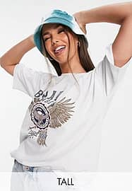 Noisy May Tall exclusive t-shirt co-ord with collegiate graphic in ecru-White
