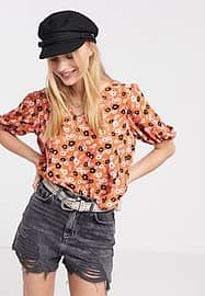 Only blouse with puff sleeves in orange floral-Multi
