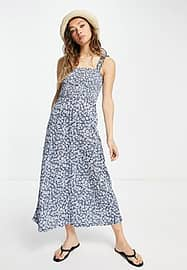 Only jersey sundress with ruched strap detail in blue floral-Navy