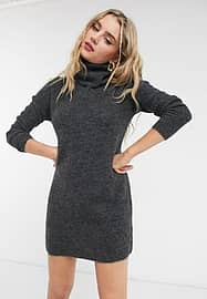 Only jumper dress with roll neck in grey-Brown