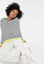 Only long sleeve t shirt in black and white stripe
