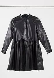 Only smock dress in faux leather in black
