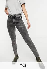 Only Tall Erica slim straight leg jeans in black acid wash