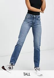 Only Tall Erica slim straight leg jeans in mid blue