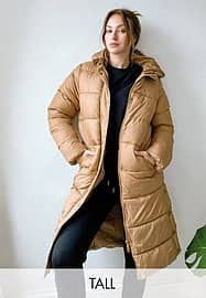 Only Tall padded jacket in brown