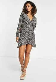 Only Zille floral print wrap mini dress in dark ditsy-Multi