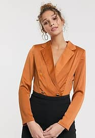 Paper Dolls tailored blouse bodysuit with gold button detail in terracotta-Brown