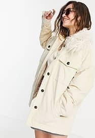 Pepe Jeans katy cord jacket with fur collar in cream-White