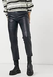 Pepe Jeans Lia real leather trousers in dark blue