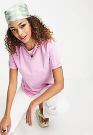 Pieces cotton t-shirt in pink-Purple