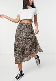 Pieces midi wrap skirt in ditsy floral-Multi