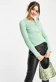 Pieces Monalisa polo knitted button front top in new green