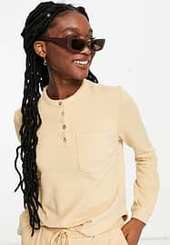 Pieces organic cotton blend top co-ord in camel-Brown