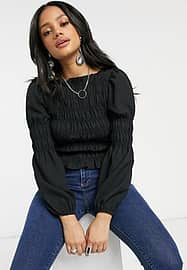 Pieces shirred blouse in black