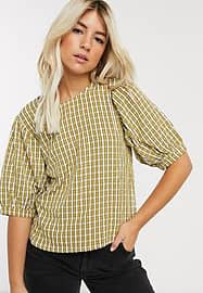 Pieces top with puff sleeves in yellow check-Multi