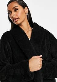 QED London chuck on soft touch jacket in black