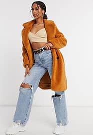 QED London double breasted borg coat in cinnamon-Brown