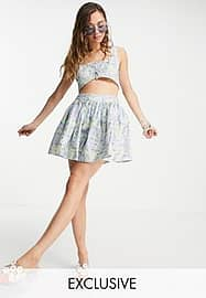 Reclaimed Vintage inspired couture volume mini skirt co-ord in blue floral