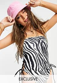 Reclaimed Vintage inspired recycled bandeau swimsuit with tie detail in zebra print-Multi
