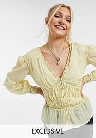 Reclaimed Vintage inspired ruched panel blouse with lace cuffs-Yellow