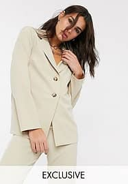 Reclaimed Vintage inspired tailored blazer in stone-Neutral
