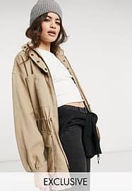 Reclaimed Vintage inspired the washed utility jacket with cinched waist in stone-Neutral