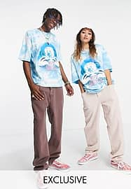 Reclaimed Vintage inspired unisex tie dye t-shirt with dolphin print-Blue