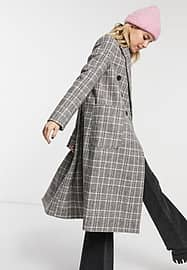 Stradivarius long double-breasted coat in grey check-Neutral