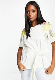 Ted Baker Bonnay floral tie waist top in white