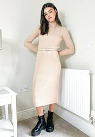 Ted Baker connie knitted dress in white
