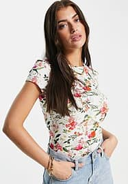 Ted Baker fitted t-shirt in white floral print-Multi