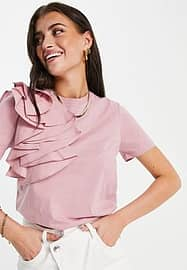 Ted Baker t-shirt with ruffle shoulder detail in pink