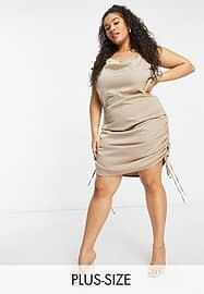 UNIQUE21 Hero gathered side satin dress in brown