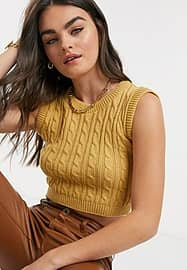 UNIQUE21 high neck knitted vest in camel-Neutral