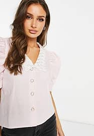 UNIQUE21 lace collar plunge shirt in pink-White