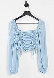 Urban Bliss ruched crop top in blue