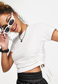 Urban Bliss ruched side t-shirt in white