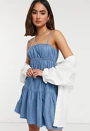 Urban Bliss strappy dress in light wash-Blue